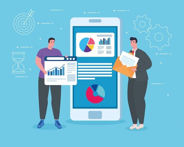 Homens com smartphone e site vector design Vetor Premium