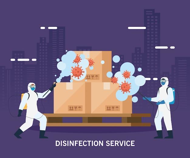 Homens com traje de proteção pulverizando caixas de entrega com Vetor Premium