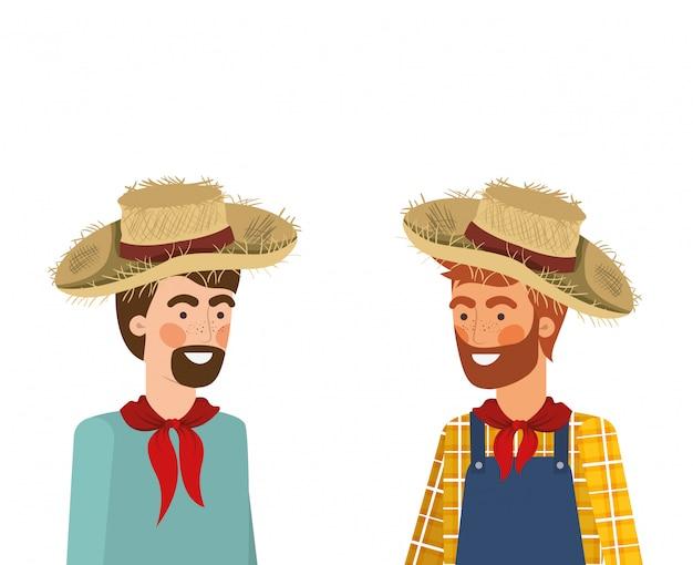 Homens de agricultores falando com chapéu de palha Vetor Premium