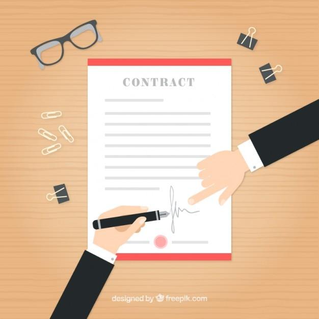 Homens de negócios com um contrato em design plano Vetor grátis