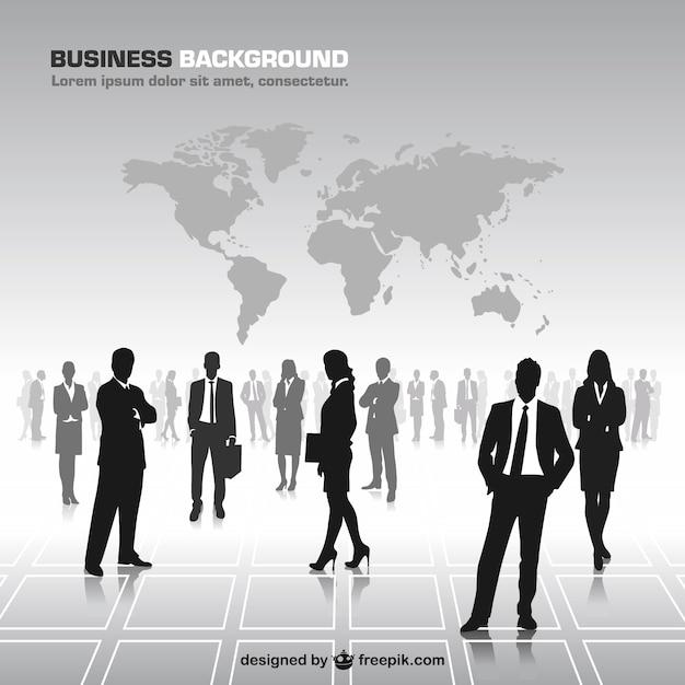 Homens de negócios silhuetas vetor mapa do mundo Vetor grátis