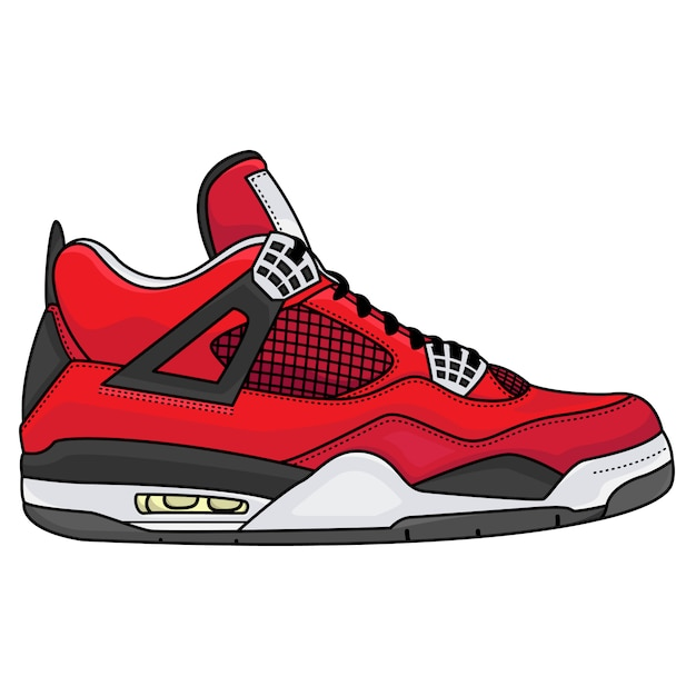 Homens de roupa de tênis vermelho Vetor Premium