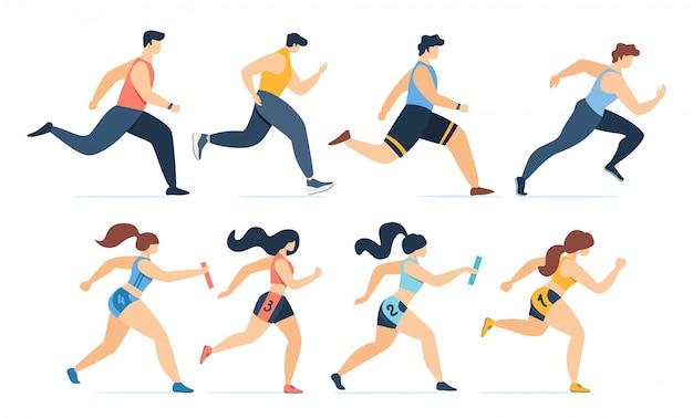 Homens dos desenhos animados, jogging e mulheres correndo maratona conjunto Vetor Premium