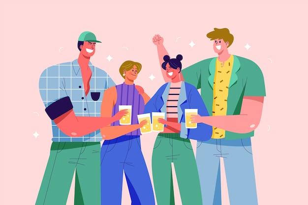 Homens e mulheres brindando juntos ilustração Vetor grátis