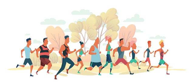 Homens e mulheres correndo maratona na natureza paisagem. grupo de pessoas vestidas com roupas esportivas. participantes do evento de atletismo tentando fugir um do outro Vetor Premium