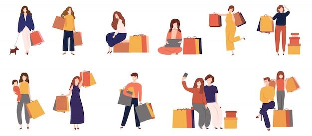 Homens e mulheres de compras com saco Vetor Premium