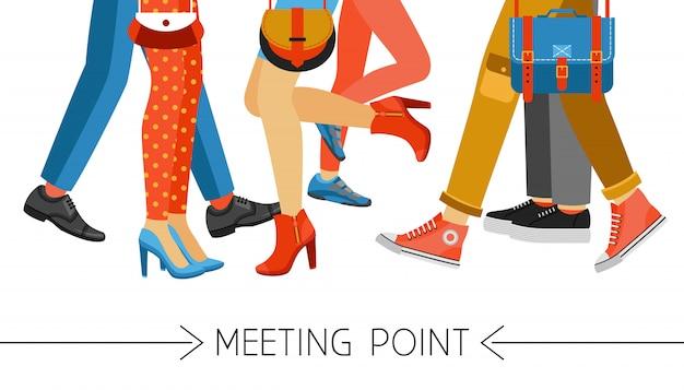 Homens e mulheres pernas e calçado Vetor grátis