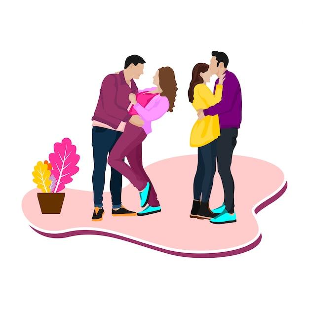 Homens e mulheres românticos Vetor Premium