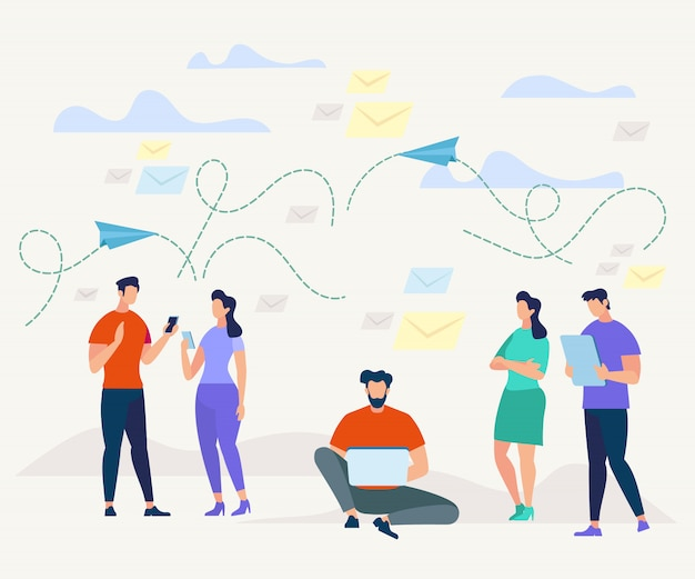 Homens e mulheres se comunicando com dispositivos móveis. Vetor Premium