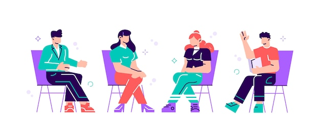 Homens e mulheres sentados em cadeiras e conversando com psicoterapeuta ou psicólogo. sessão de terapia de grupo, reunião psicoterapêutica ou auxílio psicológico. ilustração em estilo moderno simples. Vetor Premium