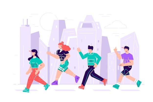 Homens e mulheres vestidos com roupas esportivas, correndo a maratona. participantes do evento de atletismo tentando fugir um do outro. personagens de desenhos animados plana isolados no fundo branco. ilustração Vetor Premium