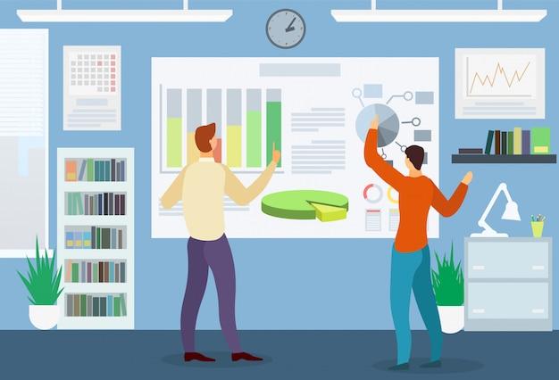 Homens explorar diagrama e gráfico. reunião de negócios. Vetor Premium