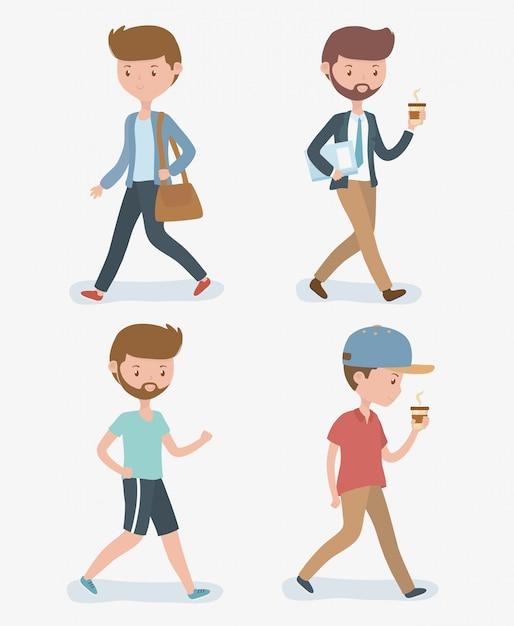 Homens jovens, andar, avatars, caráteres Vetor grátis