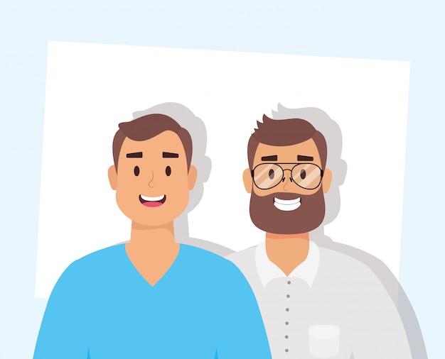 Homens jovens elegantes com caracteres de avatares de barba Vetor Premium