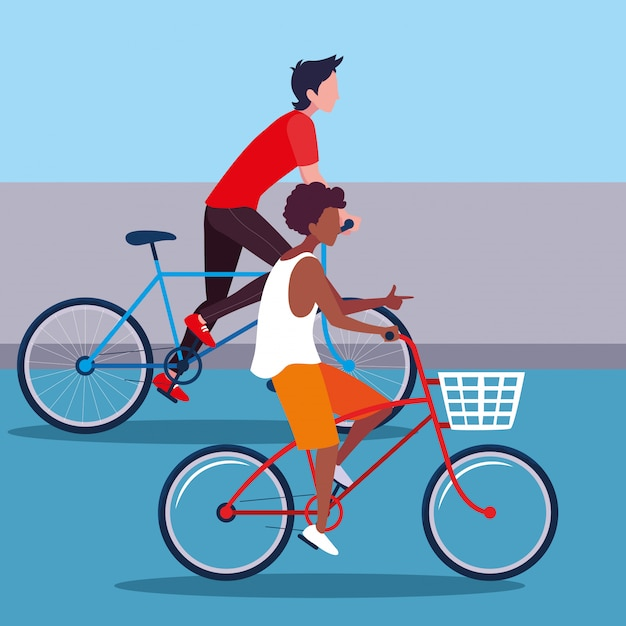 Homens jovens, montando o personagem de avatar de bicicleta Vetor Premium