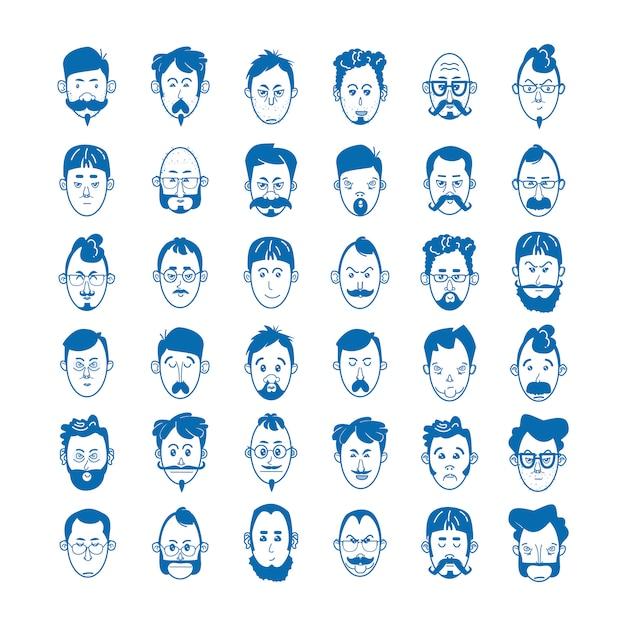 Homens lineares, com barba e bigode com óculos e careca. personagem conceito avatar e emoji. ilustração em vetor de ícones azuis no estilo de linha plana Vetor Premium