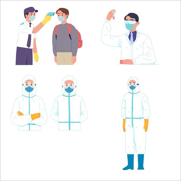 Homens obter cientista de verificação de temperatura e trabalhador médico hazmat Vetor Premium