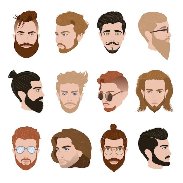 Homens penteado coleção Vetor grátis