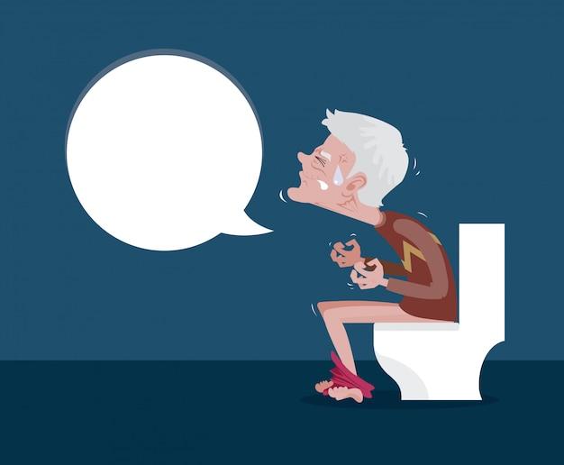 Homens sentados no vaso sanitário e constipação Vetor Premium