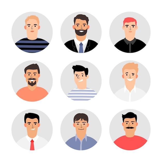 Homens sorridentes enfrentam avatares. conjunto de avatar varonil isolado, rosto masculino humano adulto diferente definido em terno e camisa, suéter de vetor e camiseta, pessoas se dirigem para retratos de negócios Vetor Premium