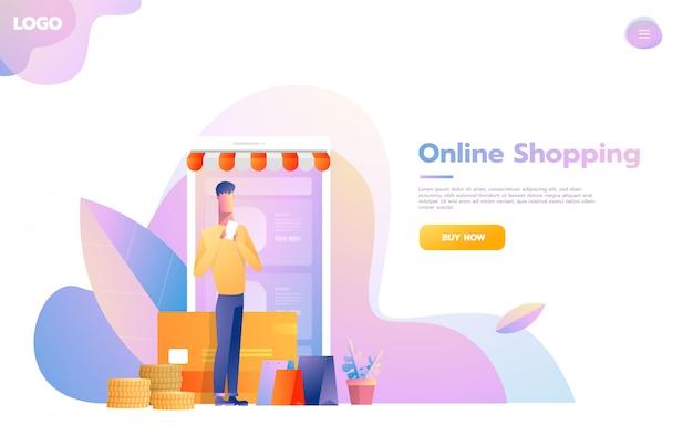 Homens usando compras móveis. pessoas andando na loja que se parece com um computador tablet. conceito de compras online. ilustração em vetor design plano Vetor Premium