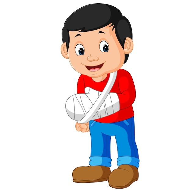 Homenzinho com o braço quebrado Vetor Premium
