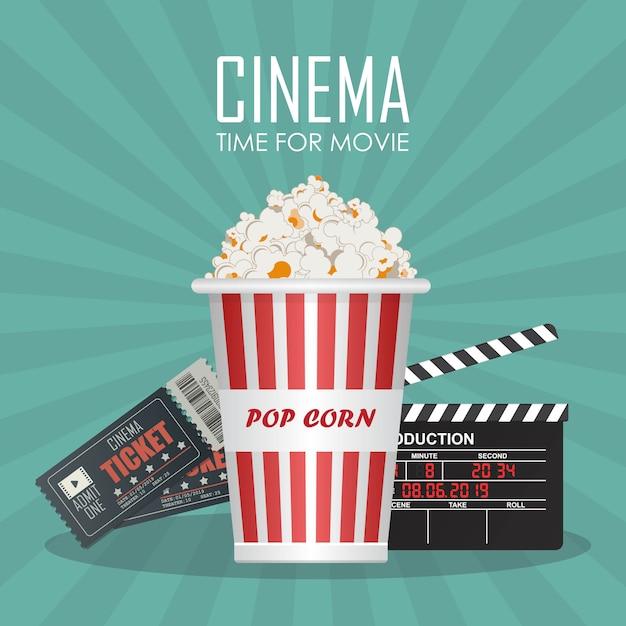 Hora da ilustração do cartaz do filme. convite para filme Vetor Premium