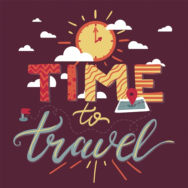 Hora de viajar lettering Vetor Premium