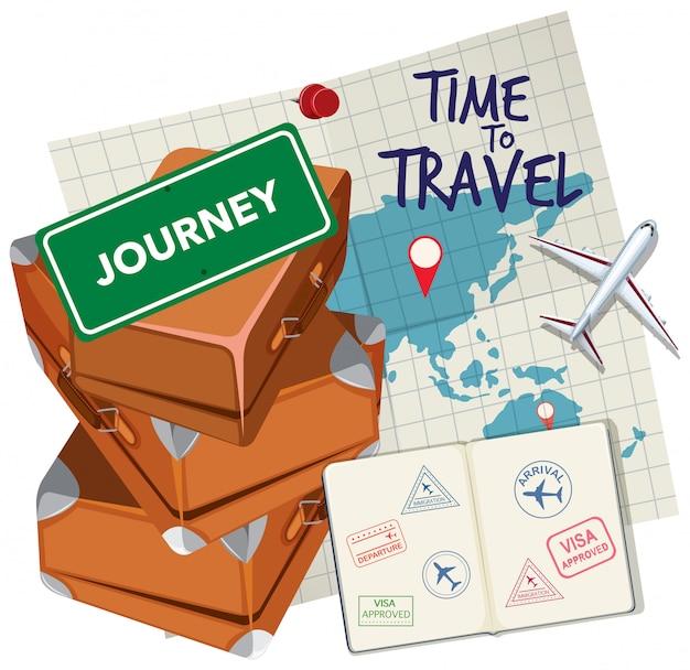 Hora de viajar logo Vetor Premium