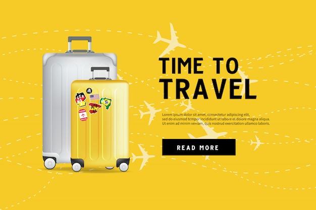 Hora de viajar modelo de banner de saco de bagagem de viagem. Vetor Premium