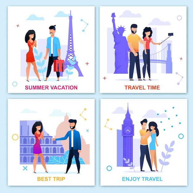 Hora de viajar no verão motivacional flat card set. férias e recreação. viagem na europa. povos do vetor dos desenhos animados que visitam marcos, tomando selfie, caminhando, reunião, ficando engajados ilustração Vetor Premium