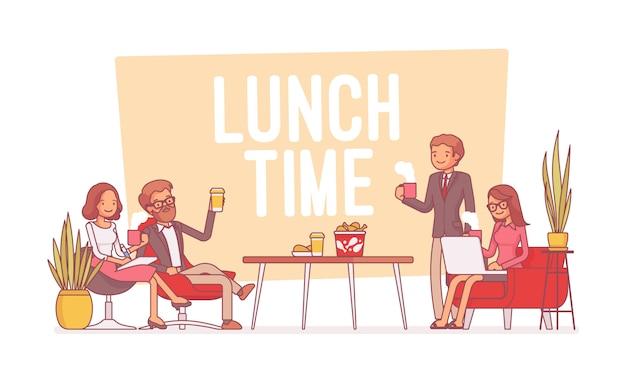 Hora do almoço no escritório, linha arte ilustração Vetor Premium