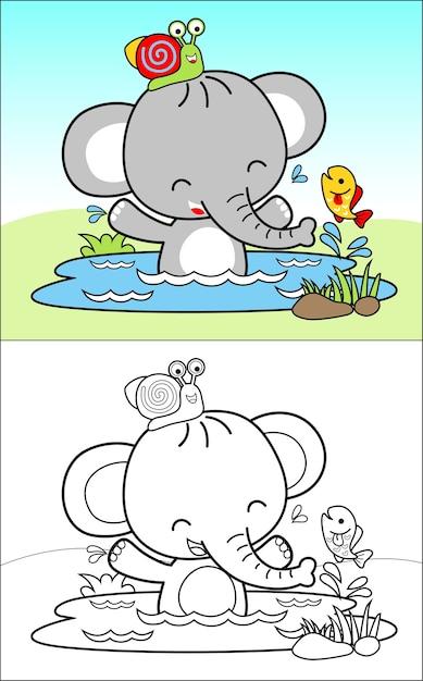 Hora do banho com bom desenho animado de elefante e amigos Vetor Premium