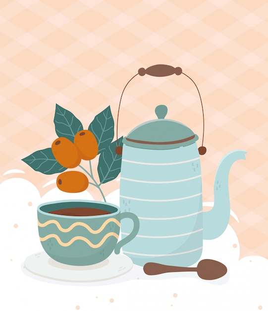 Hora do café, bule de café xícara colher sementes de bebidas frescas Vetor Premium