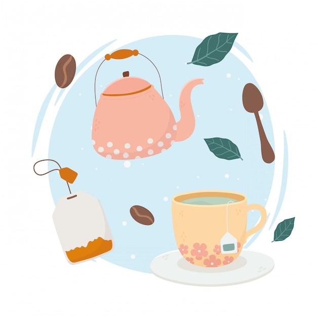 Hora do café, bule de chá xícara de chá colher bebida fresca Vetor Premium