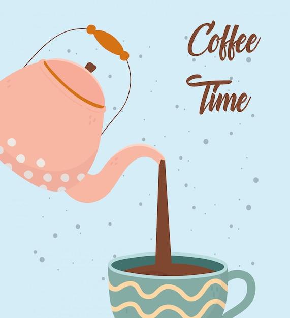 Hora do café, chaleira, despejando uma xícara de bebida de aroma fresco Vetor Premium