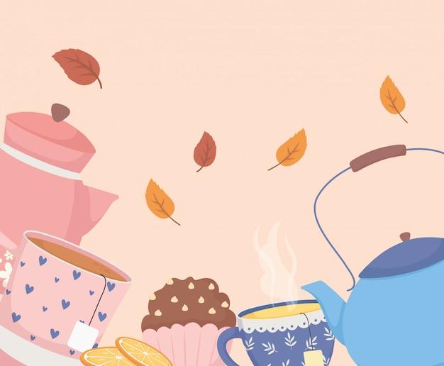 Hora do café e chá, bule xícara cupcake e folhas de decoração Vetor Premium