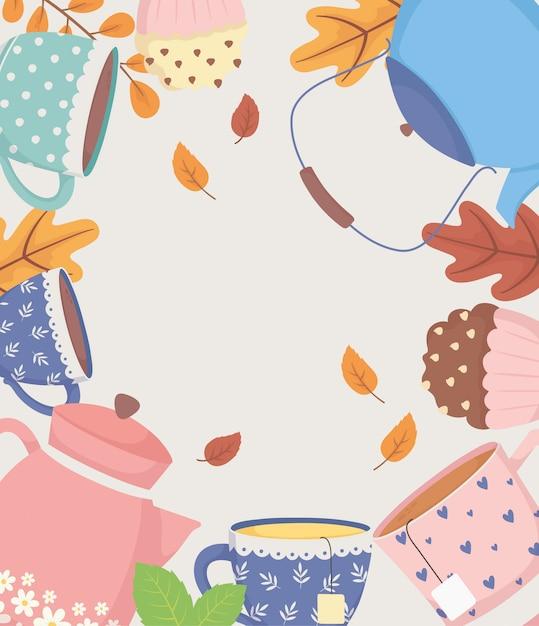 Hora do café e chá, chaleiras e copos doce cupcake e folhas decoração cartaz Vetor Premium