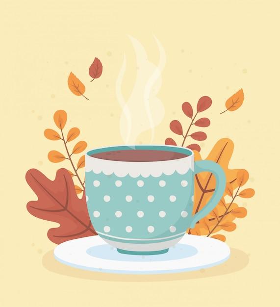Hora do café e chá, copo pontilhado no prato com fundo de decoração Vetor Premium