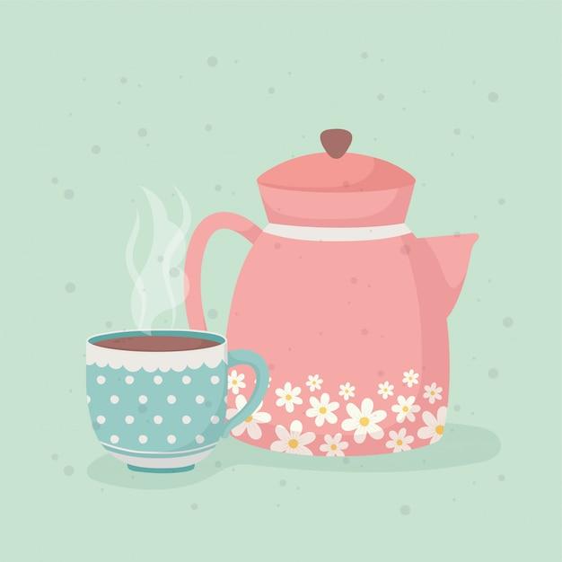 Hora do café e xícara de chá e chaleira bebidas frescas Vetor Premium