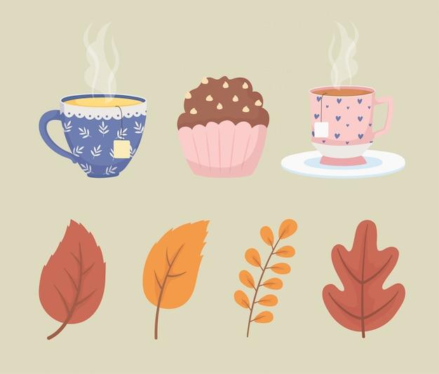 Hora do café e xícaras de chá saquinhos de chá sobremesa e decoração de cupcake Vetor Premium
