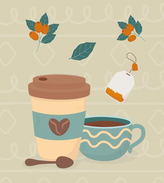 Hora do café, takeaway xícara de café colher saco de chá feijão bebida fresca Vetor Premium