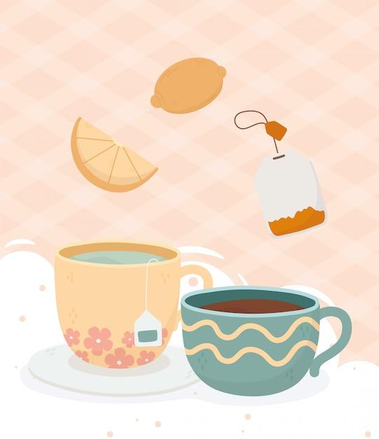 Hora do café, xícara de chá e xícara de café saquinho de chá limão bebida fresca Vetor Premium