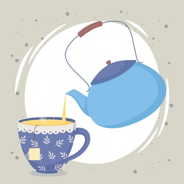 Hora do chá, chaleira derramando chá em copo de bebida Vetor Premium