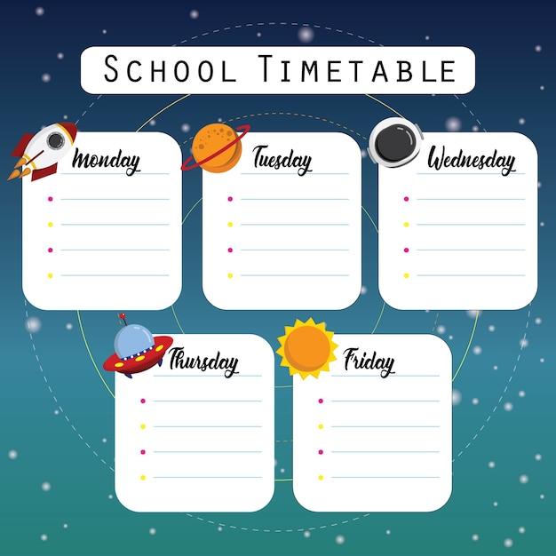 Horário da escola espacial Vetor Premium