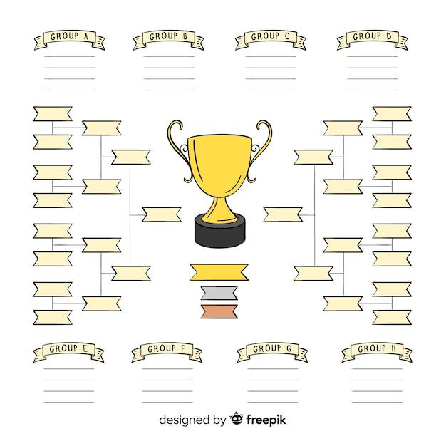 Horário de torneio moderno desenhado à mão Vetor grátis