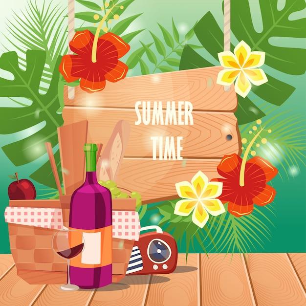Horário de verão com cesta de piquenique na mesa de madeira Vetor Premium
