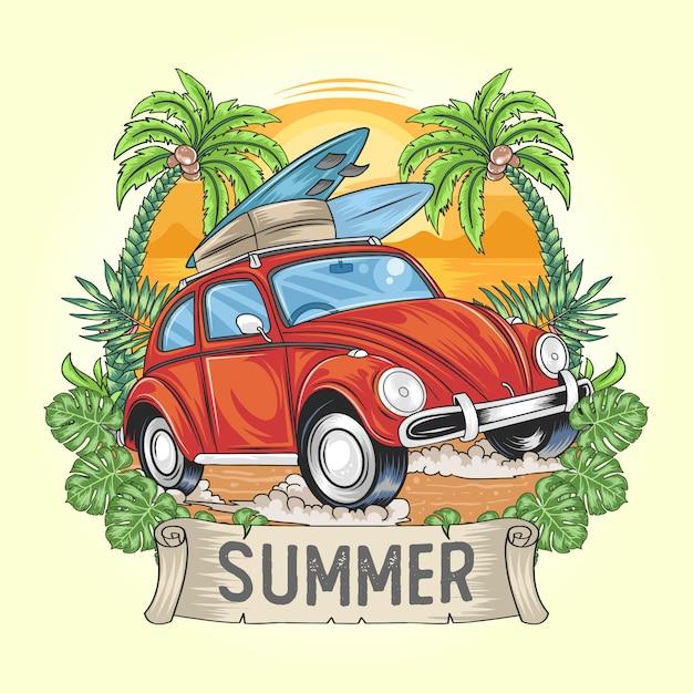 Horário de verão para férias com arte de carro e prancha de surf Vetor Premium
