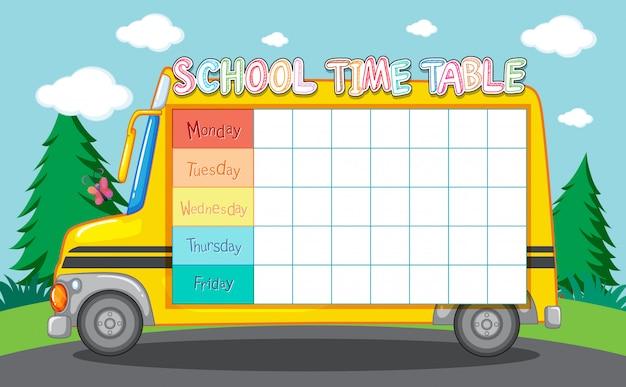 Horário escolar com ônibus escolar Vetor grátis