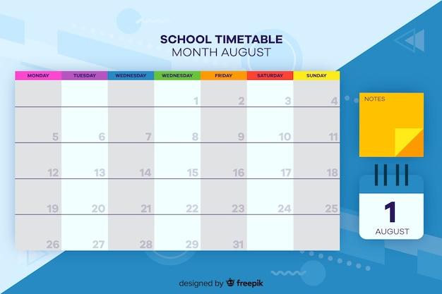 Horário escolar para crianças, planejador semanal Vetor grátis